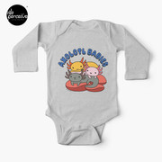 AXOLOTL WAVE Style 2 - We are the CUTEST CREATURE in the Water World Baby Long Sleeve One-Piece in Heather Grey