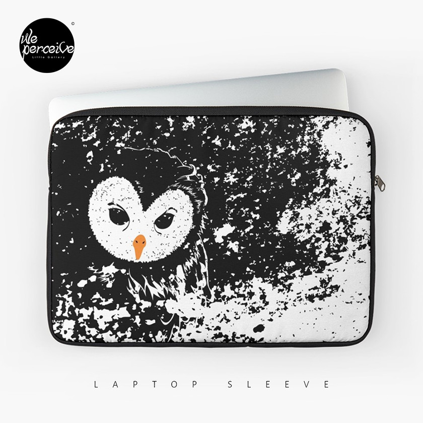 Black and white owl graphic illustration laptop sleeve