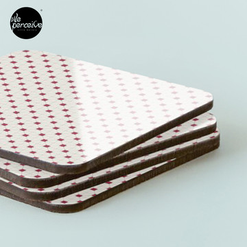 Hong Kong restaurant style - red and white VINTAGE floor tile Coasters (Set of 4)
