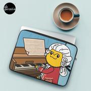 Bearded Dragon Illustration with Wolfgang Amadeus Mozart Cosplay Laptop Sleeve
