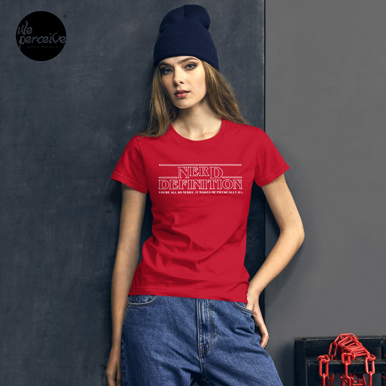 Nerd definition red jersey t-shirt for women