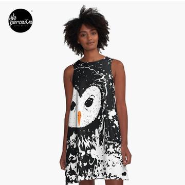 Hater owl illustration designed A-line dress in black