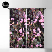 Pink Flowers Blackout Curtain