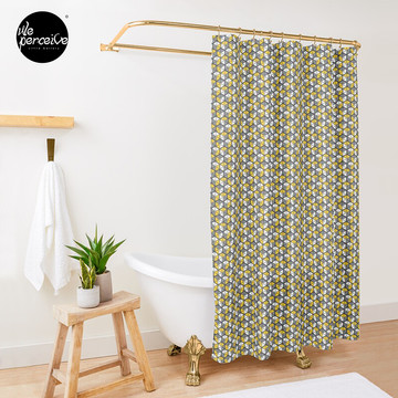 Geometric Cubes Shower Curtain