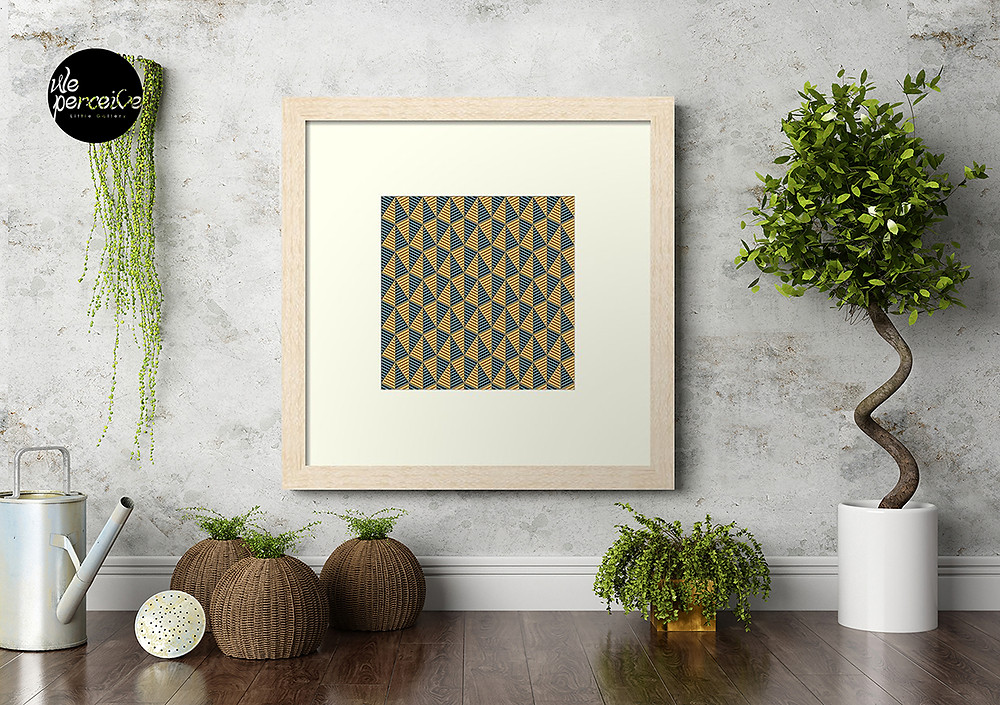 Egypt day and night pyramid pattern on framed print (photo: box frame | natural frame color | off white matter color)