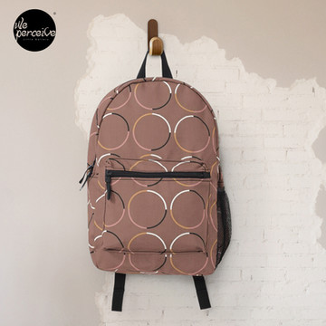 Minimal Circle Pattern in Mocha Backpack