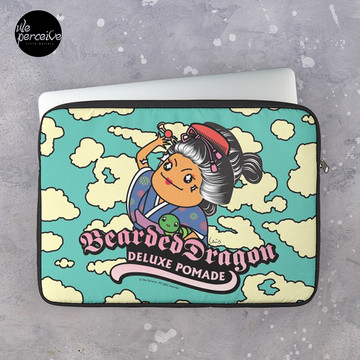 Traditional Japanese Bearded Dragon Deluxe Pomade Fun Illustration Laptop Sleeve in sky blue