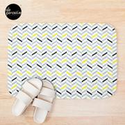 Geometric pattern - simple, black, grey, yellow Bath Mat