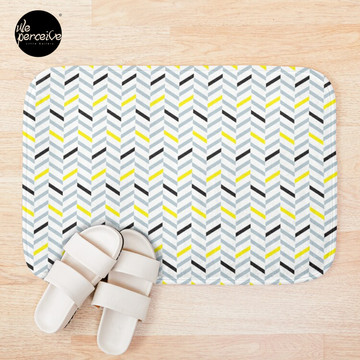 Geometric pattern - simple, black, grey, yellow Bath Mat