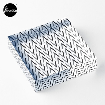 Geometric pattern - simple, black & grey Acrylic Block