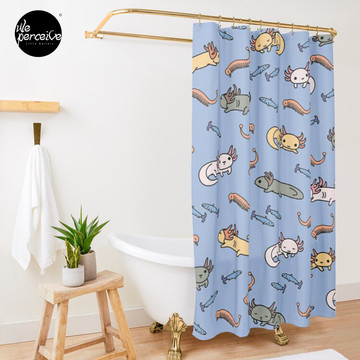 AXOLOTL DIGITAL FRESCO - AXOLOTLS FOOD and DIET Shower Curtain