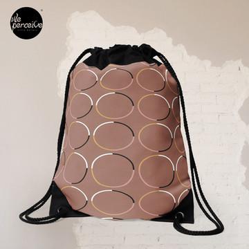 Minimal Circle Pattern in Mocha Drawstring Bag