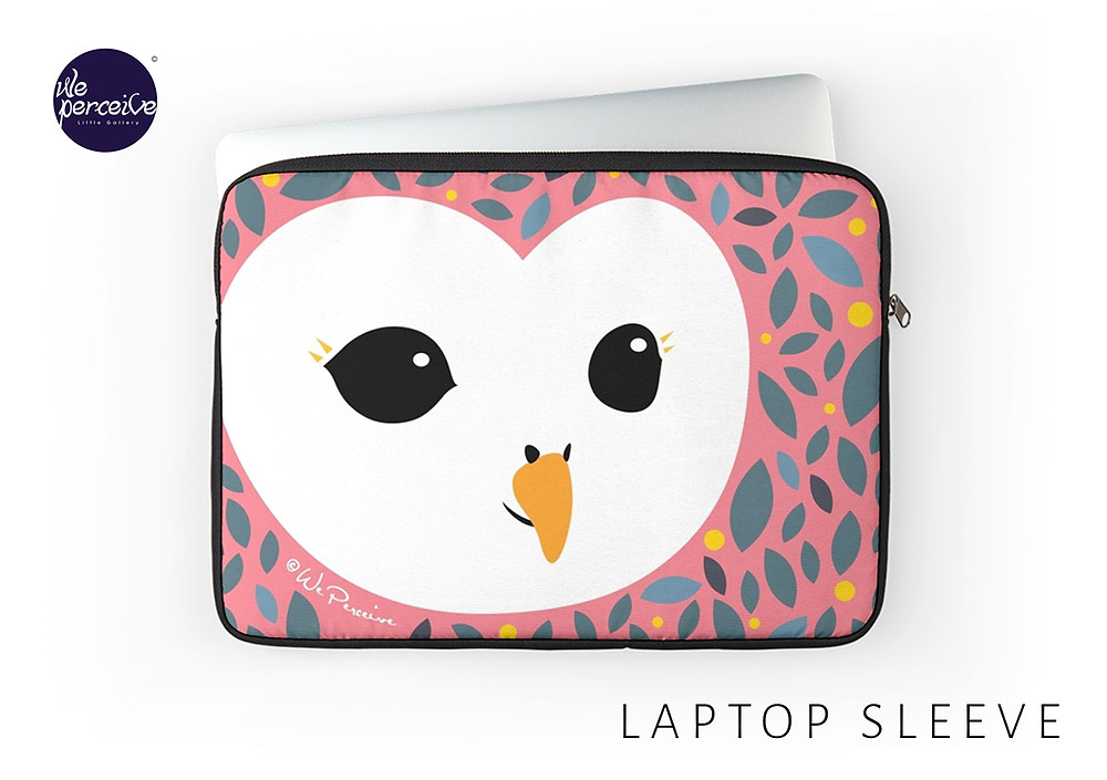 We Perceive adorable owl collection laptop sleeve in peachy pink