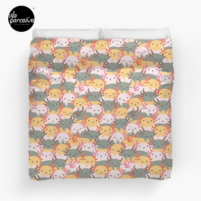 AXOLOTL WAVE - We are the CUTEST CREATURE in the Water World Duvet Cover