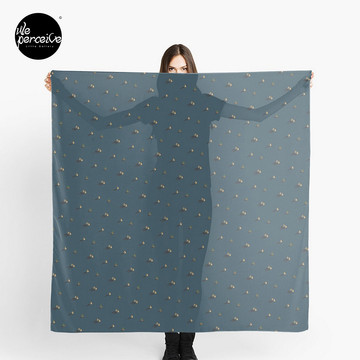 Egypt pyramid pattern designed scarf in dark blue