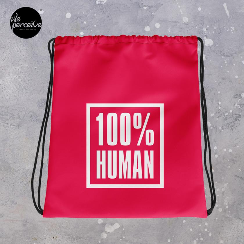 100% human red drawstring bag