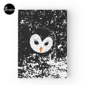 """HATER OWL - """"I'M INNOCENT!"""" black and white hand drawn style illustration Hardcover Journal"""