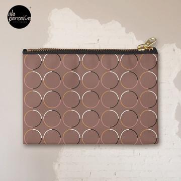 Minimal Circle Pattern in Mocha Zipper Pouch