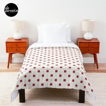 Hong Kong restaurant style - red and white VINTAGE floor tile Comforter