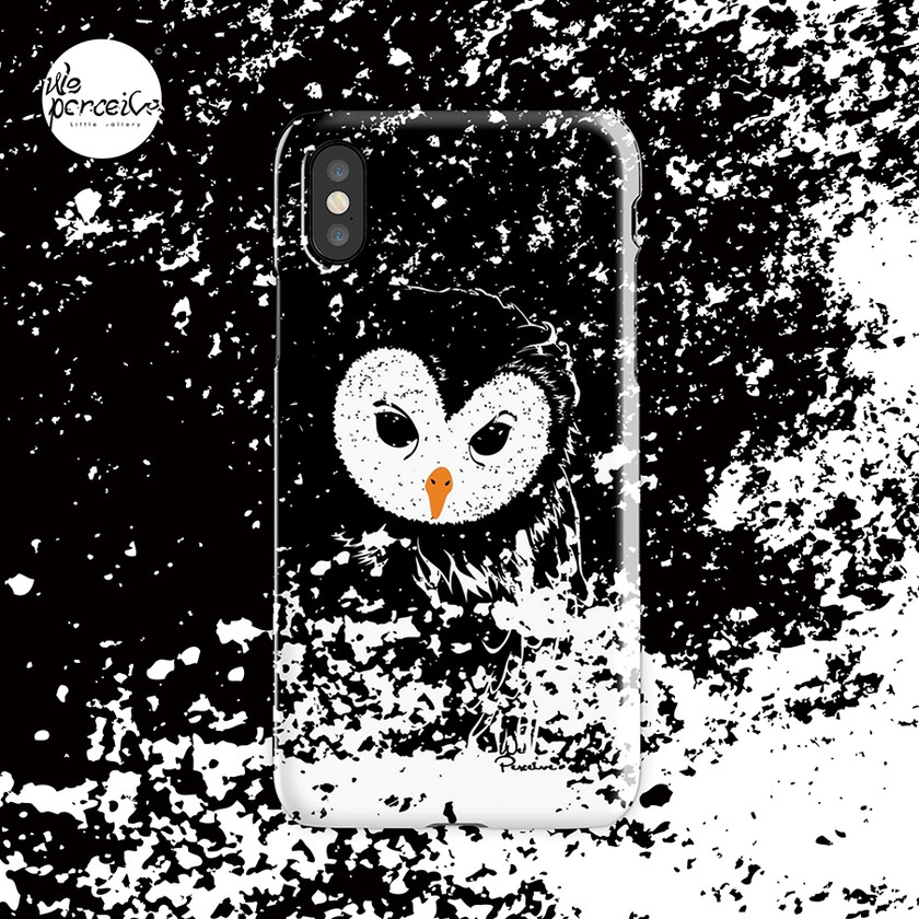Black and white owl graphic illustration phone case