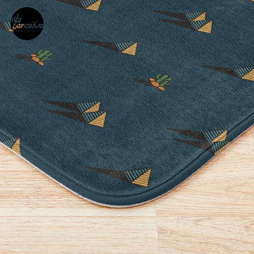 NIGHT - Egypt pyramid and cactus pattern in DARK BLUE Bath Mat