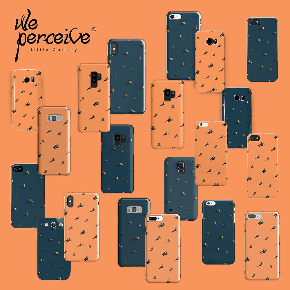 We perceive Egypt day and night pyramid and cactus pattern phone case/skin, orange/dark blue