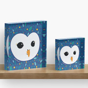 SPECIAL STARRY BLUE EDITION - Adorable TAWNY OWL (Strix aluco) with leaves background Acrylic Block