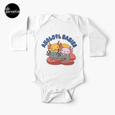 AXOLOTL WAVE Style 2 - We are the CUTEST CREATURE in the Water World Baby Long Sleeve One-Piece in White