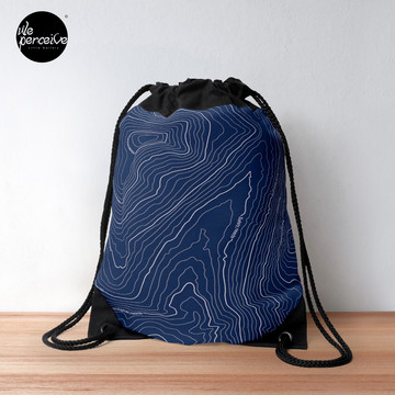Psychology things - Maslow's HIERARCHY of NEEDS - Dark Blue Drawstring Bag
