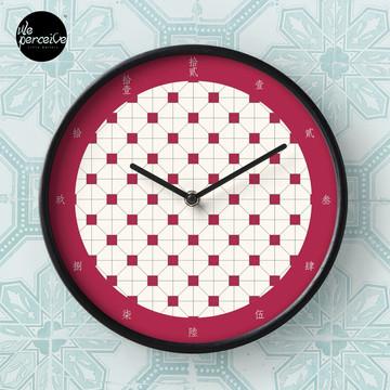 Hong Kong restaurant style - red and white VINTAGE floor tile Clock