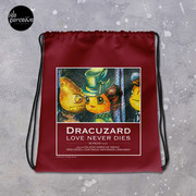 Dracuzard Drawstring bag for Gym, Sport, Swim   Beach Bag with Movie Quote of Love Never Dies   Illustration Backpack