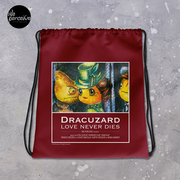 Dracuzard Drawstring bag for Gym, Sport, Swim | Beach Bag with Movie Quote of Love Never Dies | Illustration Backpack