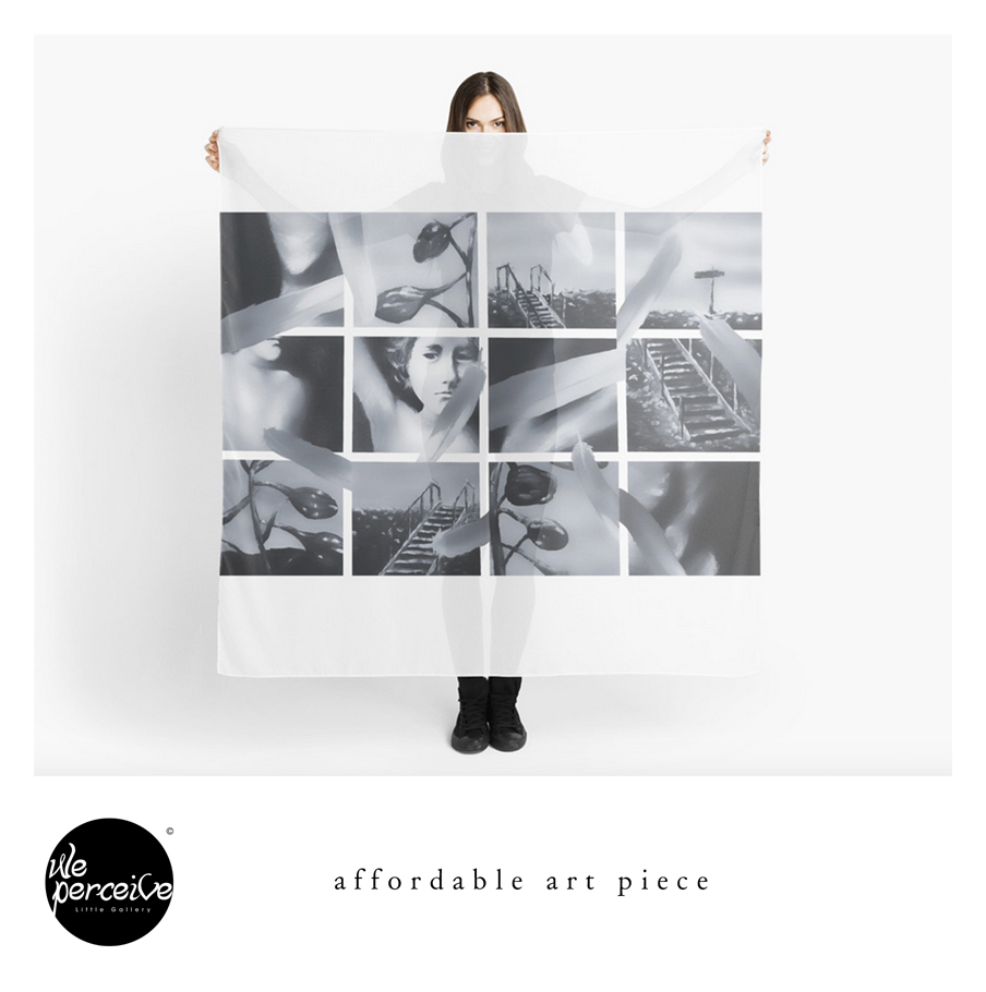 Black and white collage art scarf