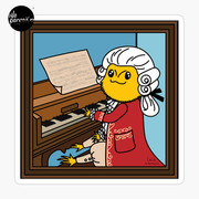 Bearded Dragon Illustration with Wolfgang Amadeus Mozart Cosplay Sticker