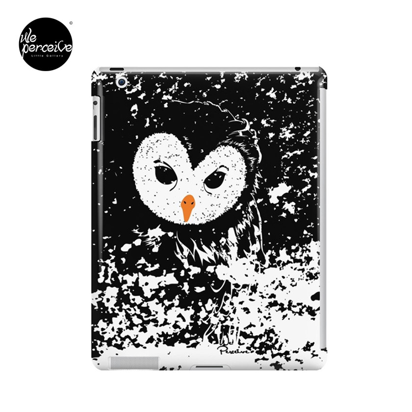 Black and white owl graphic illustration iPad skin