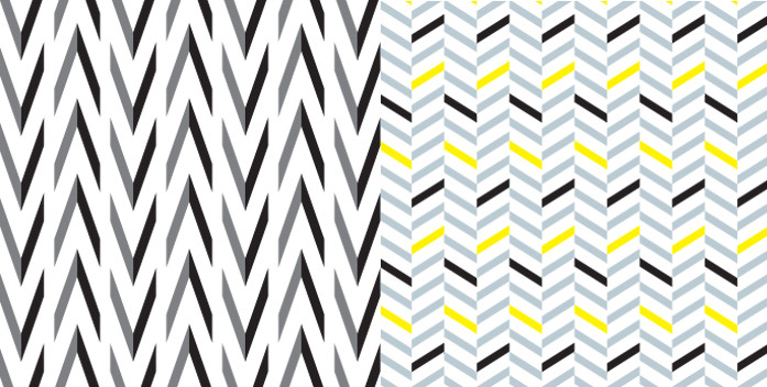 Black and grey geometric pattern on left, black and grey and yellow geometric pattern on right