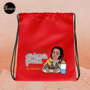 Drawstring bag with Illustration in Red for Gym, Sport, Swim   Free Ice Cream For Life Quote by Erica Sinclair