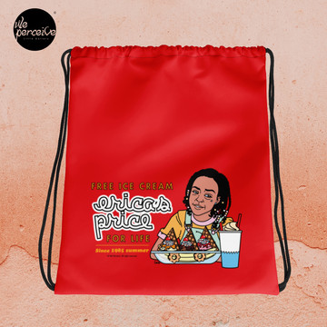 Drawstring bag with Illustration in Red for Gym, Sport, Swim | Free Ice Cream For Life Quote by Erica Sinclair