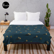 NIGHT - Egypt pyramid and cactus pattern in DARK BLUE Throw Blanket