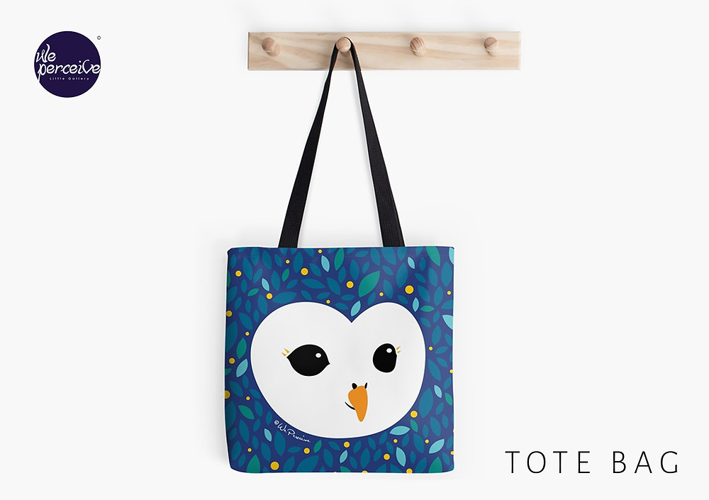 We Perceive adorable owl collection tote bag in starry blue
