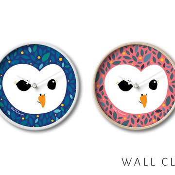 Innocent owl illustration designed wall clock