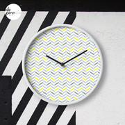 Geometric pattern - simple, black, grey, yellow Clock