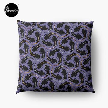 WE LOVE M.C. ESCHER style - Axolotl symmetrical pattern Throw Pillow