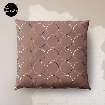 Minimal Circle Pattern in Mocha Floor Pillow