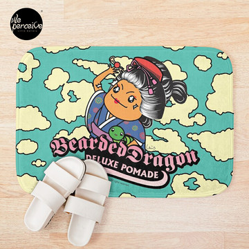 Bearded Dragon Deluxe Pomade Japanese Comic Bath Mat in sky blue
