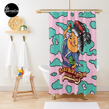 Bearded Dragon Deluxe Pomade Japanese Style Cartoon Shower Curtain in pink