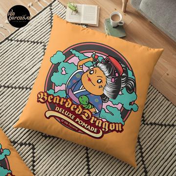 Bearded Dragon Deluxe Pomade Japanese Cartoon Floor Pillow in yellow