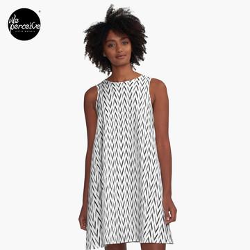 Geometric designed A-line dress