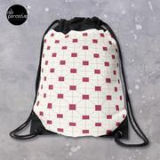 Hong Kong restaurant style - red and white VINTAGE floor tile Drawstring Bag