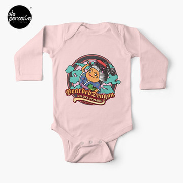 Japanese Traditional Style Bearded Dragon Deluxe Pomade Illustration Baby One-Piece in pink